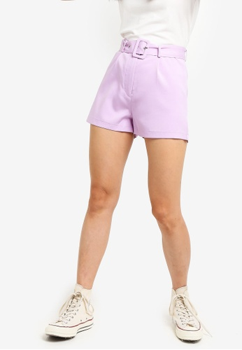 Something Borrowed purple Pop Belted Shorts 16728AA18F3CA4GS_1
