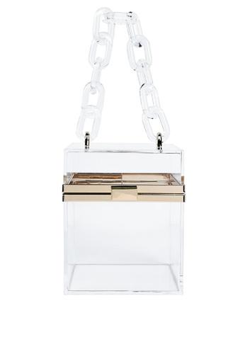 London Rag white Cuboid Clear Box Clutch Bag 897B7AC810AB4EGS_1