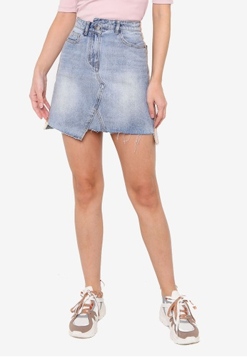 Hopeshow blue Asymmetrical Hem Denim Mini Skirt with Side Stripe Embroidery 6E1F6AAE06F3F2GS_1