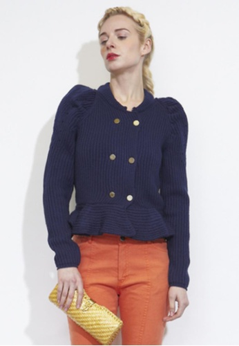 VIK navy Short Peplum Knitted Cardigan VI189AA32XOXSG_1