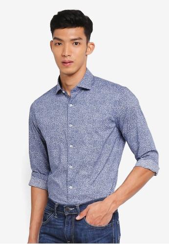 MANGO Man blue Slim-Fit Floral Print Shirt CE3C9AAD6B2B6FGS_1