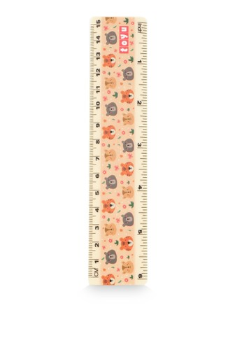 TOYU beige Penggaris Ruler 15 cm Animal Cream 68F72KCD08C897GS_1