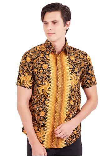 Flike Batik gold Kemeja Batik Tangan Pendek Motif Wulu Jengger Kuning 849D8AAC43286AGS_1
