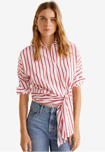 Mango red Striped Bow Blouse 24C04AA431A64CGS_1