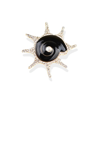 Glamorousky white Simple and Fashion Plated Gold Black Shell Imitation Pearl Brooch with Cubic Zirconia 0C0D7AC1CE59ACGS_1
