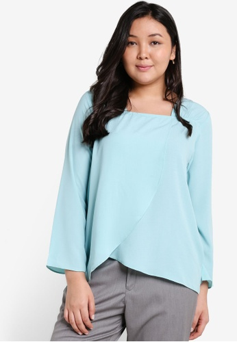 Ex'otico blue Plus Size Long Sleeve Overlap Blouse EX373AA26OANMY_1