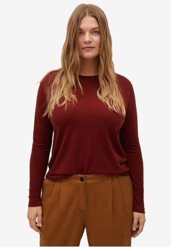 Violeta by MANGO red Plus Size Decorative Button Sweater E9306AA8B80A47GS_1