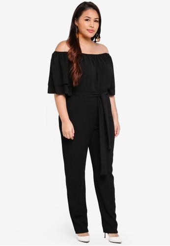 LOST INK PLUS black Plus Size Bardot Jumpsuit 59E88AA179F7F7GS_1