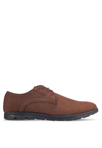 UniqTee brown Grain Textured Derby Shoes UN097SH0RFVHMY_1