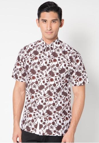 Batik Indra Loka Short Sleeve Soga Putih
