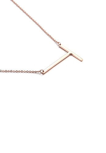 Glamorousky silver Fashion Simple Plated Rose Gold English Alphabet T 316L Stainless Steel Pendant with Necklace 6B31AACECBC0EDGS_1