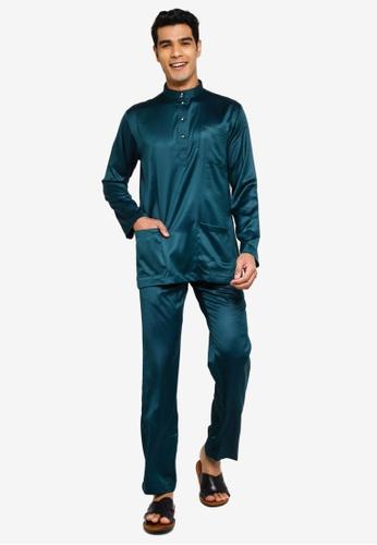 Fidelio green Jaspar Slim Fit Baju Melayu Modern 07DB0AA84595ADGS_1
