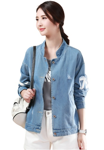 Buy A In Girls Burr Hole Letter Denim Jacket Zalora Hk
