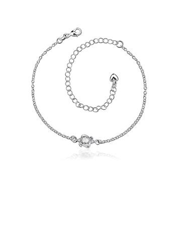 Glamorousky white Fashion Simple Geometric White Cubic Zircon Anklet C8B56ACE14C461GS_1