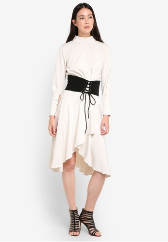 ZALORA beige Studio Corset Detail Midi Dress E86BEAA80ADCF3GS_1