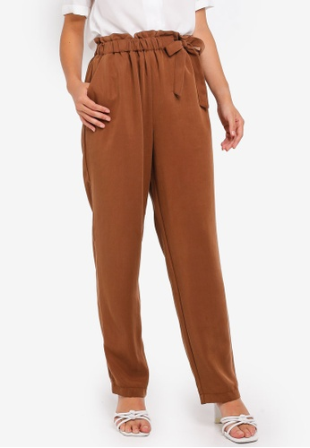 Pieces brown Birsen High Waist Ankle Pants 11685AAFBBBBC5GS_1