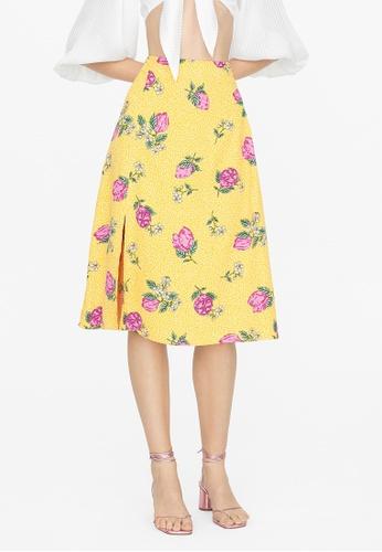 Pomelo yellow Midi Fruit Print Pencil Skirt - Yellow 27A62AAE252B2EGS_1