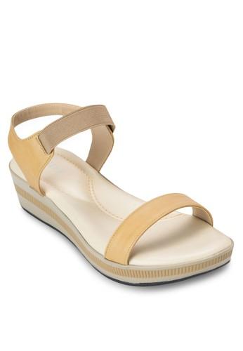 彈性繞踝撞色楔形zalora是哪裡的牌子涼鞋, 女鞋, 鞋