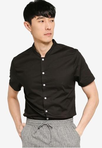 ZALORA BASICS black Mandarin Collar Shirt 99CA5AA25952A9GS_1