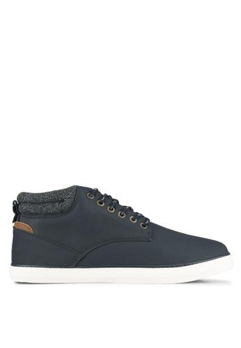 Burton Menswear London navy Navy Leather Look Sports Boots BU964SH0SHODMY_1