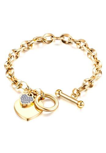 YOUNIQ gold YOUNIQ MOET 18K Gold Titanium Steel Chain Bracelet with Heart Cubic Zirconia Stone Dangle CEBA3AC0D34055GS_1