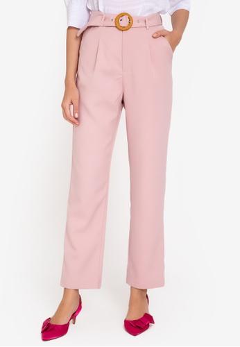 ZALORA WORK pink High Waist Tailored Pants With Belt BCF34AAF1B53C1GS_1