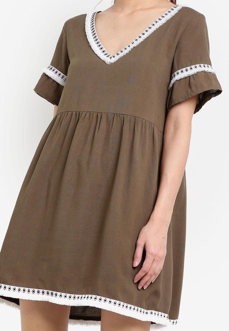 Trim Green Fringe Army Babydoll Something Dress Borrowed OwddZvqzx