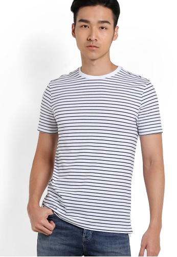Topman 白色 Navy And White Stripe T-Shirt TO413AA97RDMMY_1