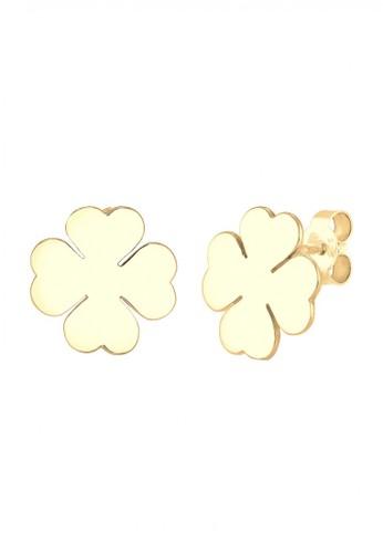 Elli Germany gold Perhiasan Wanita Perak Asli - Silver Anting Stud Clover Lapis Emas 926A0AC45CA366GS_1