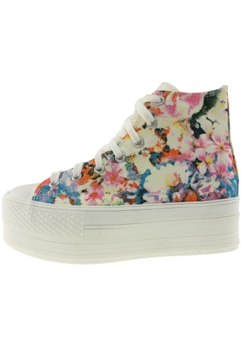 Maxstar 藍色 新款韩国鞋C50-7H-Flower時尚帆布布混合女藍色 US Women Size MA345SH84GTVTW_1