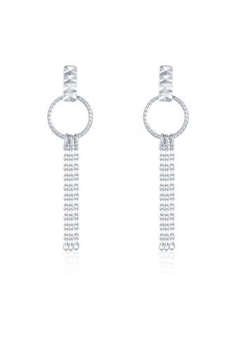 MaBelle silver 14K 585 White Gold Diamond Cut Circle Tassel Stud Earrings A2A1CACC88DDE0GS_1