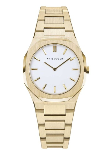 Aries Gold gold Aries Gold Prestige Edition L 1032 G-WG White and Gold Stainless Steel Watch 4A344ACBBEE35FGS_1