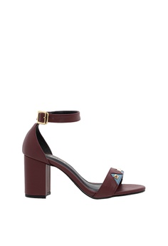 SEMBONIA red Synthetic Leather Heeled Sandal (Maroon) 9ACFASH6E92F1DGS 1 2970456828a6d