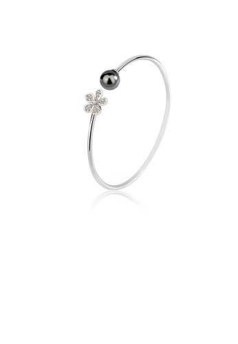 Glamorousky black 925 Sterling Silver Fashion Simple Flower Freshwater Pearl Open Bangle with Cubic Zirconia 7979EAC1A703CAGS_1
