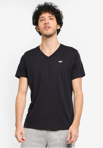 Hollister black Core Pop Icon V-Neck T-Shirt HO422AA0T1C6MY_1