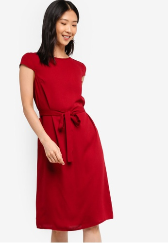 ZALORA BASICS red Basic Midi Dress With Tie D6532AA8F00A99GS_1
