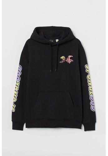 H&M black Regular Fit Hoodie C0BFDAA2FFFB09GS_1