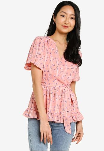 ZALORA BASICS pink and multi Ruffle Chiffon Wrap Top With Self Tie C5813AA8CE8220GS_1