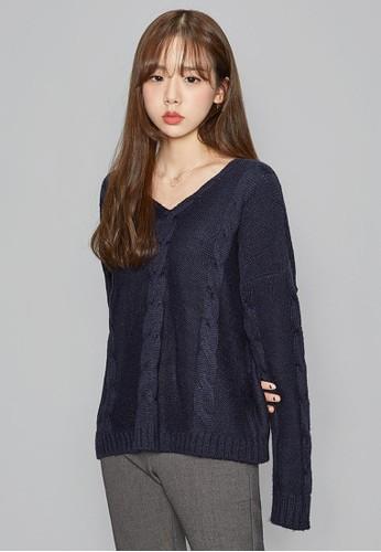 寬鬆V領編織針織esprit 京站上衣, 服飾, 毛衣& 針織外套