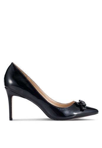 Velvet black Faux Patent Finish High Heels 4BF7FSH21B5296GS_1