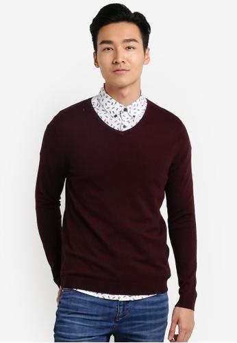 Burton Menswear London 紅色 V領長袖衫 BU964AA29JTUMY_1