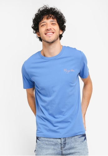 MANGO Man blue Logo Cotton T-Shirt MA449AA0T1E5MY_1