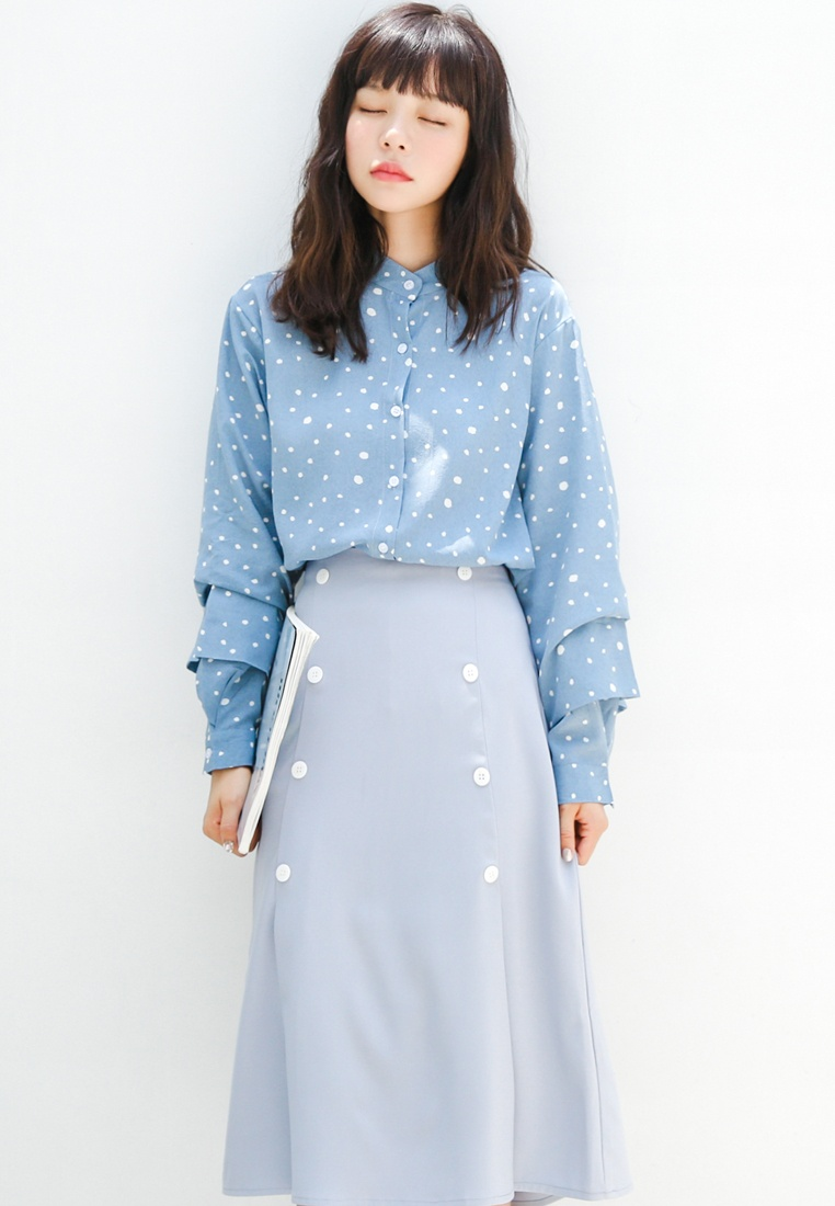 Blouse Blue Polka in Shopsfashion Dot Blue EwSXZq