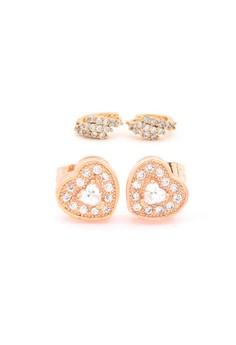 Jewel 18k plated Cubic Zircon Duo Earrings