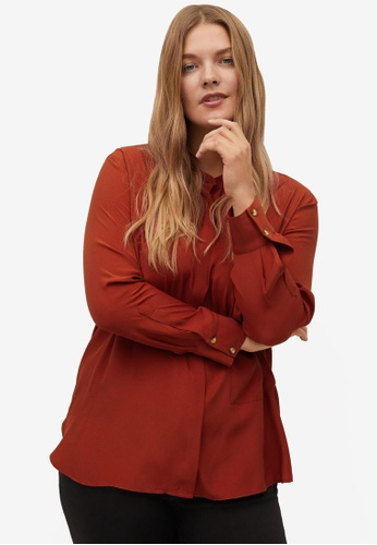 Violeta by MANGO red Plus Size Chest-Pocket Flowy Blouse A2227AA451CE14GS_1