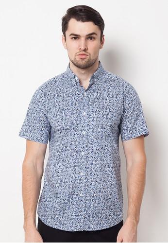 Minarno blue Blue Floral Print 08 s/s Shirt 98AC2AA6DF1A3CGS_1