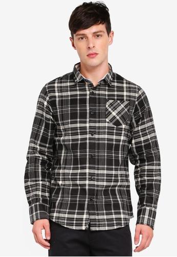 Brave Soul 灰色 格紋長袖襯衫 0F524AA02F1948GS_1