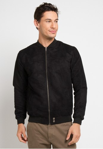 AUTIV.FIXIN black Suede Bomber Jacket Jet B CD28BAADEC067AGS_1