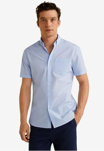 MANGO Man 藍色 Regular Fit Pocket Cotton Shirt 843AEAA8C81336GS_1