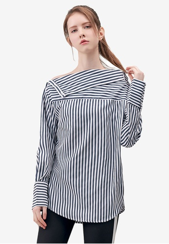 Kodz blue Striped Off-Shoulder Shirt 7E021AA0E00F4AGS_1